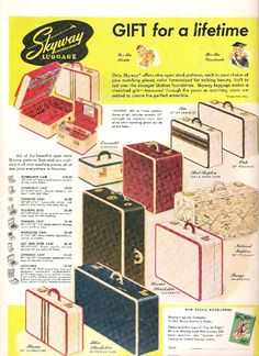 Take a look at what was for sale years ago through these wonderful original luggage ads. Description from the-atomic-cafe.blogspot.com. I searched for this on bing.com/images