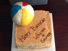 "Beach ball themed birthday cake with brown sugar/graham crumb ""sand"" White Rock BC Nut-free Bakery"