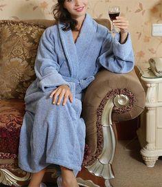 Men Women 100% Cotton Terry Bathrobe Lovers Long Bathrobe Kimono Female Dressing  Gown PA1908 98c4bab37
