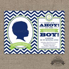 Nautical Silhouette Invitation PLUS Keepsake Poster - Navy Chevron & Lime Green - Any color and Any age - Features a Custom silhouette from your digital photo