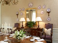 dining room plate display.  Tammy Connor Interior Design