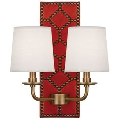 Williamsburg Lightfoot Aged Brass Orange Leather 2-Light Sconce ($759) ❤ liked on Polyvore featuring home, lighting, wall lights, orange, sconces, antique brass sconce, antique brass lamp, leather lamp, antique brass lighting and orange shades