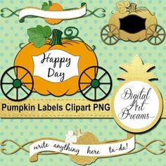 Pumpkin Carriage Clipart  Cute Scrapbook by DigitalArtDreams