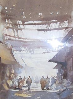 Edward Seago (1910 — 1974, UK) Covered Street, Marrakech. watercolour. 15 x 10 in.