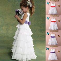 7ebb9648708b New Girls Baby Child Kids Princess Party Wedding Big Flower Dresses Clothes