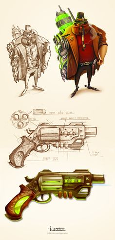 Look at this guy with detailed equipment and weapon. He is the future HERO for steampunk game. So do you like this brave man and his semi automatic gun?)