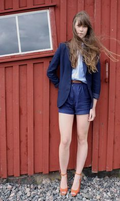 #Vintage Blazer and Shorts With Acne Shoes  Blazer and shorts  #2dayslook #fashion #nice #Blazershorts  www.2dayslook.com
