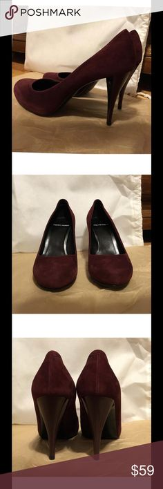 Pierre Hardy Burgendy Suede Pumps size US 8.5 LIKE NEW CONDITION! This is a STEAL.  Pierre Hardy Burgendy Suede Heels Retail $595 + tax NO box, but if you don't mind, I'll put them in a Proenza Schouler shoe bag.  IT/EU 39.5 (US 9.5) as labeled, but runs small!! Buy if you are US 8.5 or 9. 3.5 inch heel 1 inch hidden platform  Resoled (see picture plz).but other than that, no flaws. Suede clean, no blemishes or scratches. Insole clean, looks unworn.  Versatile, great for prom, everyday work…