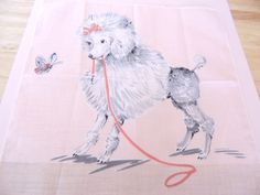 1950s Childs Pink FRENCH POODLE Handkerchief by BarbieandFriendsVtg on Etsy
