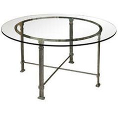 Circular Steel DiningTable with Glass Top, France, 1980s