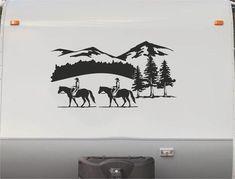 Equestrian Horse Trailer Vinyl Decals Enclosed Trailer Stickers Graphics Mural 241