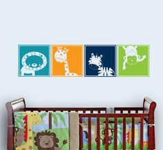 Safari Friend Blocks Jungle Decal Nursery Wall Vinyl by ababywall, $24.00