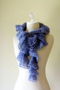 """Denim Mystique"""" lace scarf"""