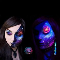 This is insane! KatieAlves created her incredible blacklight galaxy look with the help of #Sugarpill eyeshadows, #BHCosmetics and #LitCosmetics glitters. Such intricate details!