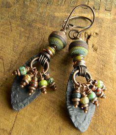 Crusty Lampwork Earrings Tribal Colorful Rustic by ChrysalisToo