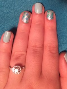 Blue mosaic nails