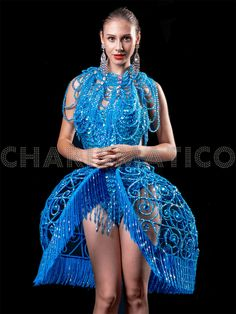 Blue Sequin leotard and crystallised cage skirt set Drag Queen Costumes, Drag Queen Outfits, Madonna Costume, Costume Dress, Cage Skirt, Lingerie Set, Sequin Dress, Dance Wear, Leotards