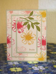 Triple layer Thank you card featuring Stampin' Up! Flower Shop stamp set #StampinUp