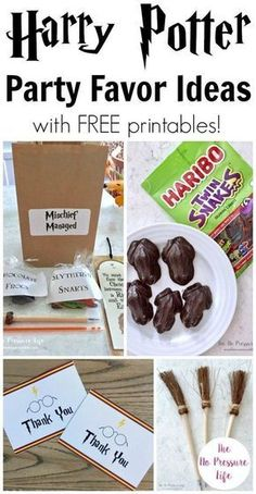 If you're hosting a Harry Potter party, here are great ideas for favors! They're so easy and inexpensive for a kids birthday party, or if you're holding a Harry Potter themed Halloween party. Plus, grab the free printables - cute thank-you notes and treat Harry Potter Fiesta, Cumpleaños Harry Potter, Harry Potter Halloween, Harry Potter Birthday, Harry Potter Treats, Cadeau Harry Potter, Anniversaire Harry Potter, Harry Potter Classroom, Harry Potter Baby Shower