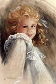 Art Illustration - what a cute and charming portrait of a young beautiful little girl painted by talented artist Brenda Burke. Images Vintage, Vintage Art, Brenda, Portraits, Art Themes, Vintage Children, Art Children, Beautiful Children, Beautiful Paintings