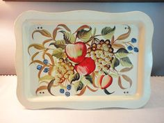 Vintage Bed Serving Tray  Metal Ivory with Fruit by coleuscottage