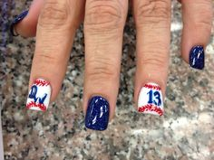 Baseball nail design.  love this for this summer little league games
