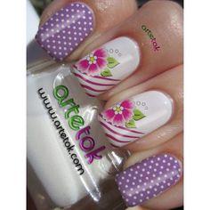 Adesivos para unha poá lilás com floral |ArteTOK