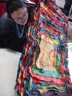 Joomchi is a process similar to felting and creates a stunning, textural surface, Textile Fiber Art, Textile Artists, Paper Book, Paper Art, Art Du Fil, Fabric Manipulation, Book Making, Art Plastique, Bookbinding