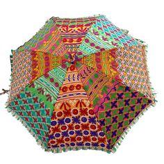 Handmade Multicolor Sun Umbrella Embroidered by RajasthanRoyals, $43.99