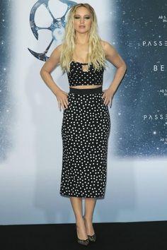 Jennifer Lawrence wearing Dolce & Gabbana Black and White Polka Dot Bustier, Christian Louboutin Neoalto Lace Red Sole Pump and Dolce & Gabbana Skirt