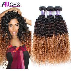 New Ombre Blonde Brazilian Hair 8ABrazilian Kinky Curly Virgin Hair Three Tone Ombre Brazilian Hair Kinky curly weave human hair