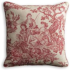 Maison d' Hermine Miller Cotton Toile Decorative Pillow Cover for Couch Sofa Cushion Bedroom (Red, 18 Inch by 18 Inch)