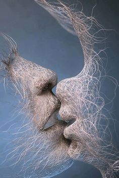 """The Last Kiss by Adam Martinakis """"…Most humans see only the outer forms, unaware of the inner essence, just as they are unaware of their own essence and identify only with their own physical and psychological form."""" --Eckhardt Tolle, A New Earth Art Chicano, Art Plastique, Love Art, Textile Art, Sculpture Art, Fantasy Art, Art Drawings, Art Photography, Street Art"""