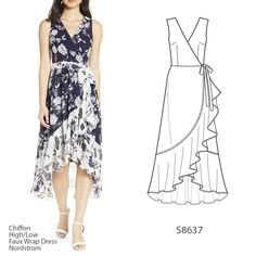 Sew the Look (tm): Everyone needs a light and flowy summer dress like Consider making this beautiful wrap-style version in a printed chiffon with a coordinating fabric for the hem ruffle! 📷: Inspo dress available at Nordstrom. Sewing Summer Dresses, Simple Summer Dresses, Summer Dress Patterns, Vogue Sewing Patterns, Clothing Patterns, Fashion Drawing Dresses, Fashion Dresses, Best Wedding Guest Dresses, Pretty Dresses
