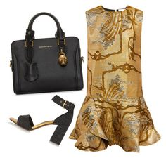 """""""Gold + Black"""" by cherieaustin ❤ liked on Polyvore featuring Marni, Alexander McQueen, Michael Van Der Ham, women's clothing, women, female, woman, misses and juniors"""