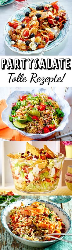 Party salads - great recipe ideas for the buffet DELICIOUS - Salat-Rezepte und leckere Dressings - Party Salads, Party Snacks, Salad Recipes, Healthy Recipes, Grill Party, Party Finger Foods, Great Recipes, Recipe Ideas, Grilling Recipes