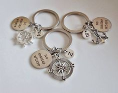 No matter where keychains, 3 Best friend keychains Compass Rudder Anchor, set of 3 key chain 3 Sister keychain Personalized Initial keychain