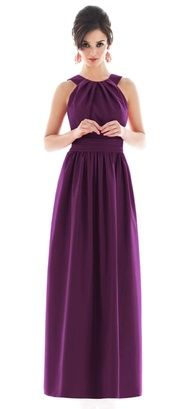 plum bridesmaid dress long