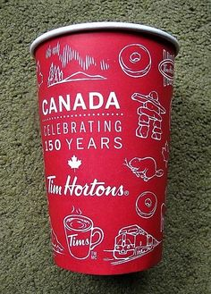 Tim Hortons 'Canada 150' celebration cup - English side Canadian Things, I Am Canadian, Canadian History, Tim Hortons Canada, Canada Day Party, Capital Of Canada, Happy Canada Day, Canada 150, Family Road Trips