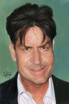 Caricatura de Charlie Sheen.