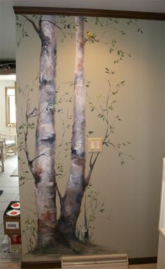 Tree - birch- mural. Colors and effect are soft and inviting. perfect for the hall space