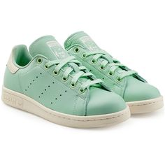 Adidas Originals Stan Smith Leather Sneakers ($98) ❤ liked on Polyvore featuring shoes, sneakers, green, leather footwear, leather trainers, green sneakers, adidas originals and leather shoes