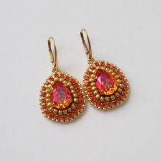 Astral pink swarovski Crochet Earrings, Swarovski, Drop Earrings, Pink, Jewelry, Fashion, Diy Kid Jewelry, Ear Rings, Moda
