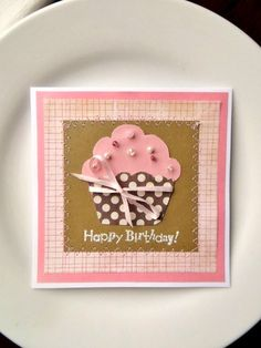 CUPCAKE Birthday Card Handmade Greeting by InspiredGreetingsAD, $ 7.00  A small card would be great to sneak into the ladies' purses at church.