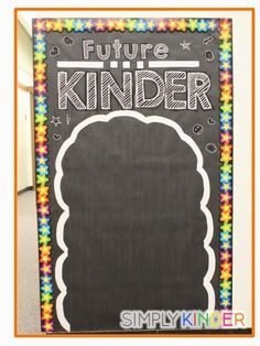 Meet the Teacher -Chalkboard Bulletin Board -kindergarten - First day of schoolLooking for a fun new bulletin board that your parents will love? Students can stand in front of the poster to take a fun picture to remember their first day! Kindergarten Pictures, Kindergarten Bulletin Boards, Welcome To Kindergarten, Kindergarten Rocks, Kindergarten Readiness, Kindergarten First Day, Classroom Ideas, Classroom Organization, Classroom Board