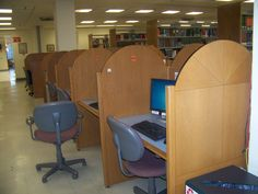 A look at the row of workstations in front of the reference desk