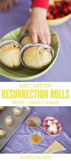 Resurrection Rolls are a simple way to keep Easter Christ-Centered. Each ingredient represents part of the Easter story, and they are delicious too! Perfect for Family Home Evening Lessons, LDS Primary, Sharing Time, Easter Brunch, or a family treat. Click through for the easy recipe and object lesson!