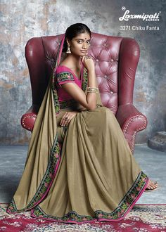 Plain georgette fabric with smoke effect cement color saree is synchronizing with spectacular heavy resham work border lace and contrast pink blouse piece which makes this design stunning & fabulous.