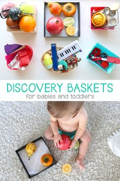 Discovery Baskets for Babies and Toddlers - Mama. Baby Learning Activities, Infant Sensory Activities, Baby Sensory Play, Montessori Activities, Baby Play, Baby Toys, 10 Month Old Baby Activities, Kids Learning, Sensory Games