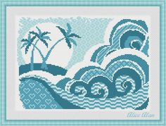Cross Stitch Pattern Sampler Sea waves with old postcards (restoration) Counted Cross Stitch Pattern / Instant Download Epattern PDF File
